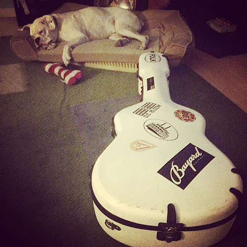 Benny with John's guitar